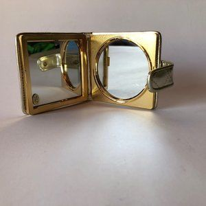 Gold Quilted Folding Mirror NWT